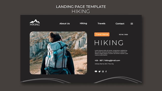 Hiking ad template landing page