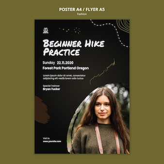 Hiking ad template poster