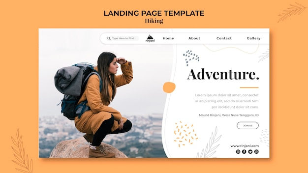 Hiking adventure landing page template