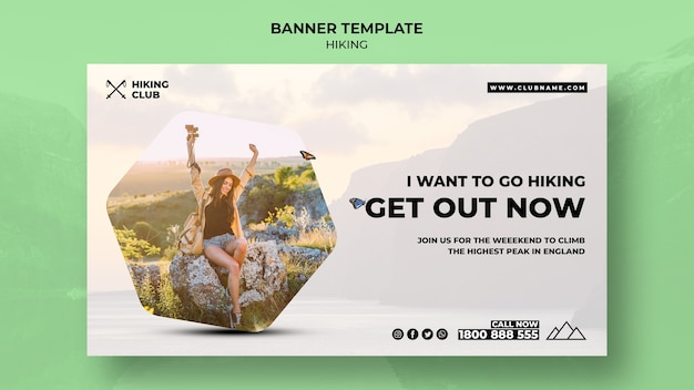Hiking banner concept with quote