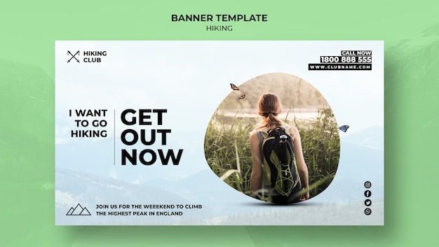 Hiking concept banner get out now template