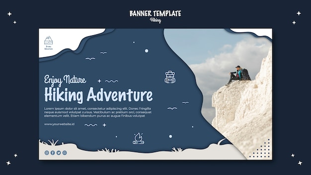 Hiking concept banner template design