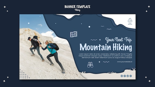 Hiking concept banner template style