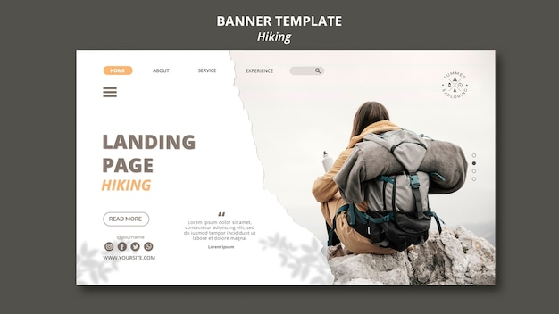 Hiking concept banner template