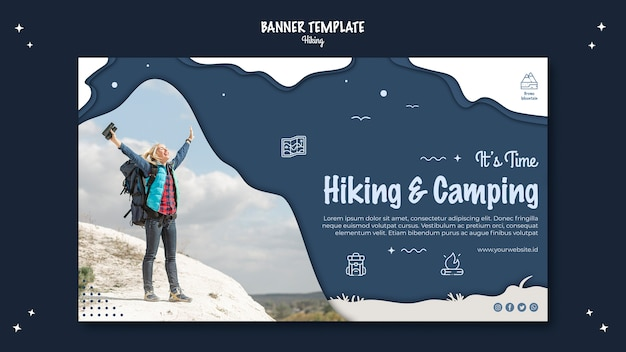 Hiking concept horizontal banner