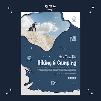 Stile di poster concetto di escursionismo