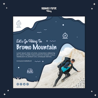Hiking concept square flyer design