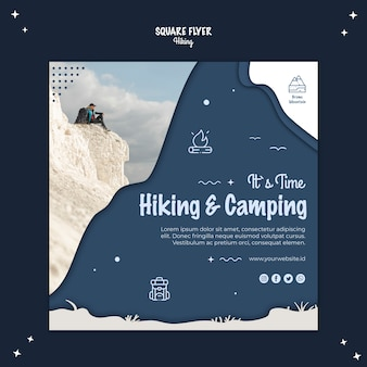 Hiking concept square flyer style