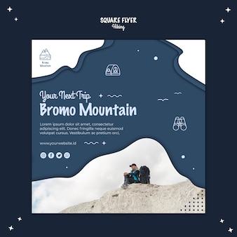 Hiking concept square flyer template
