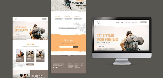 Hiking concept web template
