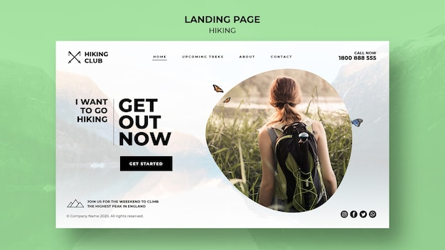 Hiking concept with girl landing page