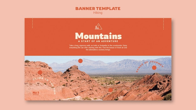 Hiking horizontal banner template with photo