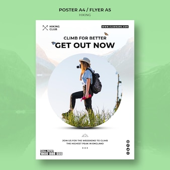 Hiking poster concept with woman and binoculars