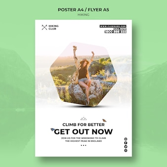 Hiking poster concept with woman sitting on a rock