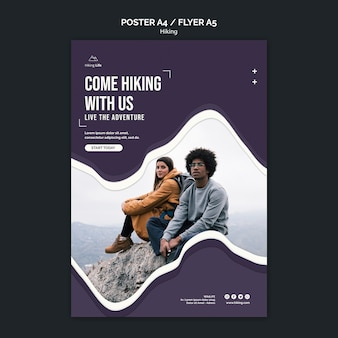 Hiking poster template