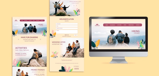 Hiking web concept template