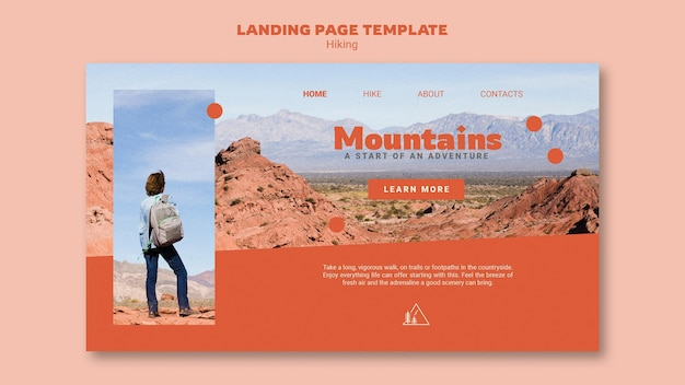 Hiking web template with photo