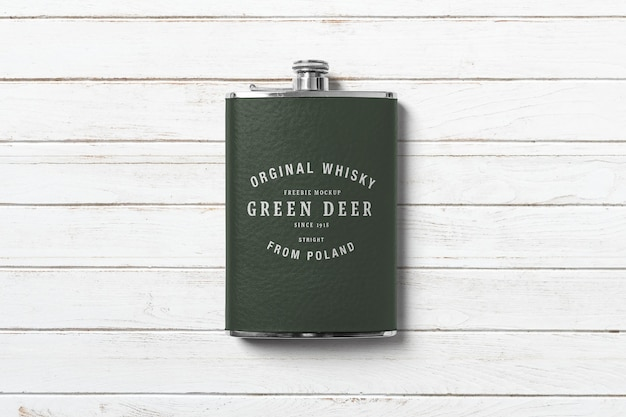 Hip flask bottle mockup