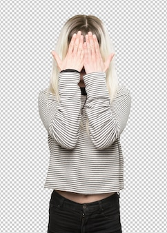 Hippie girl covering her face