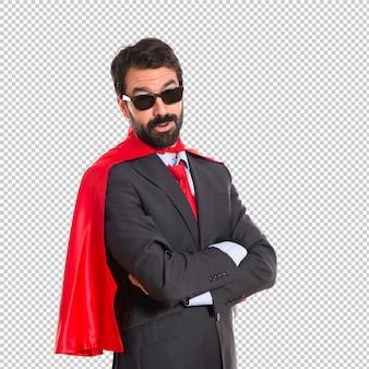 Hipster businessman dressed like superhero with sunglasses