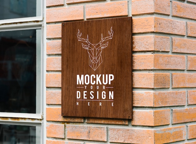 Hipster shop sign mockup with an elk motif