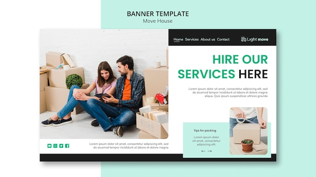 Hire our services banner template