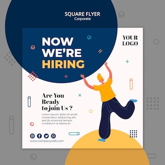 Hiring announcement square fllyer template