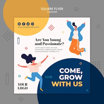 Hiring announcement template square fllyer