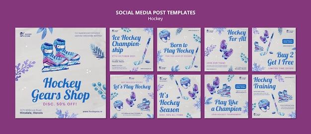 Collezione di post instagram della stagione dell'hockey