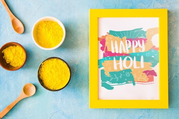 Holi festival mockup with frame