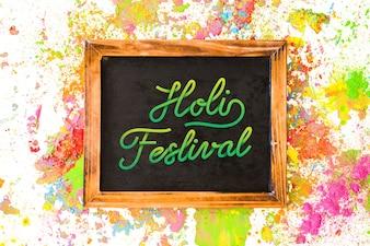 Holi festival mockup with slate