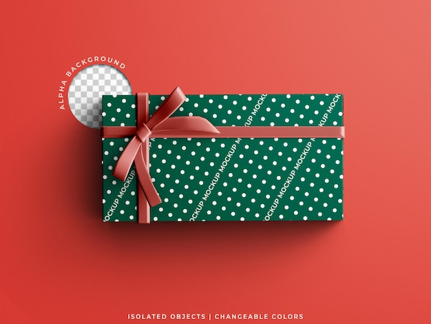 Holiday christmas gift present box paper wrapping pattern mockup scene creator isolated