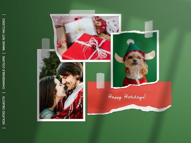 Праздничный рождественский макет настенной доски настроения разорвал порванную бумагу, фоторамку, коллаж, набор изолированных