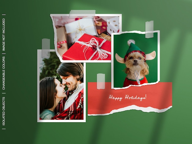 Holiday christmas mockup of wall moodboard ripped torn paper photo frame card collage set isolated