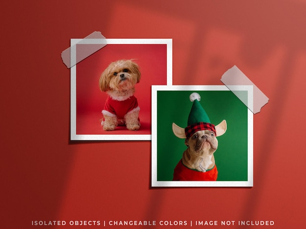 Holiday concept christmas mockup of wall moodboard paper photo frame card collage set isolated