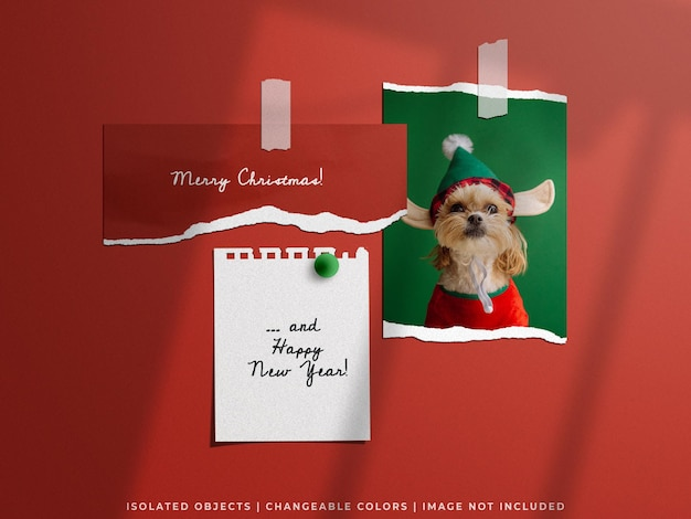 Holiday concept christmas mockup of wall moodboard torn paper photo frame card collage set isolated