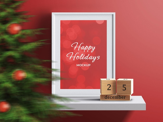 Holiday concept frame photo poster canvas mockup on shelf with christmas interior decoration