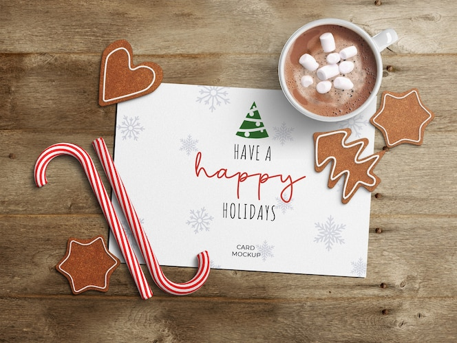 Holiday greeting card mockup with christmas decoration
