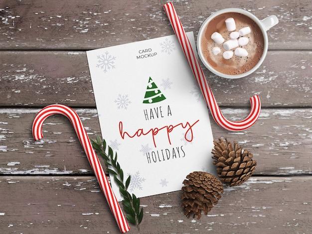 크리스마스 장식과 휴일 인사말 카드 모형