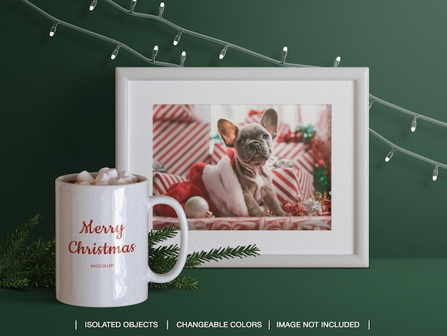 Holiday greeting photo card frame and mug mockup and scene creator with christmas branch