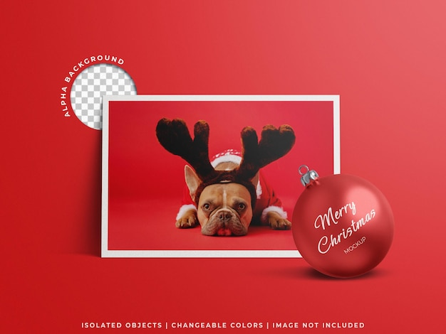 Holiday greeting photo poster card  and christmas ball mockup concept isolated