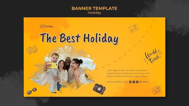 Holiday horizontal banner template