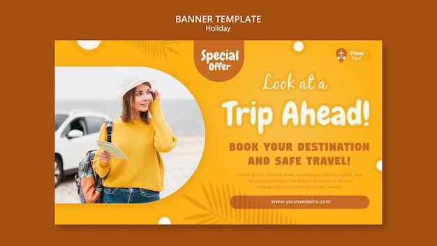 Modello di banner orizzontale per le vacanze