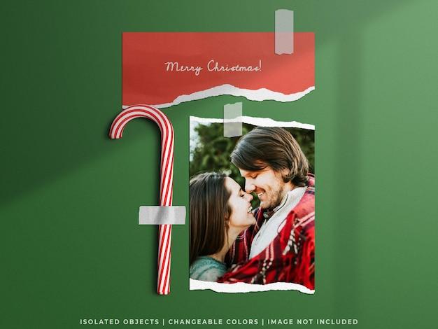 Праздничный макет рождественской концепции стены настроения разорванной бумаги фоторамка коллаж карты изолированы