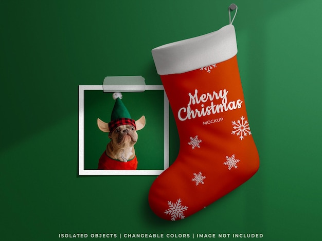 Holiday mockup christmas concept with paper photo frame card and stocking sock isolated
