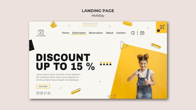 Holiday party and cute girl landing page template