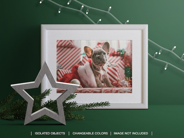 Holiday photo card frame mockup with christmas branch and lights decoration