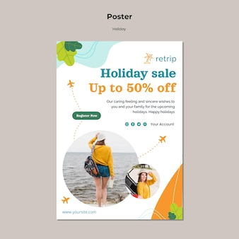 Holiday sale with discount poster template