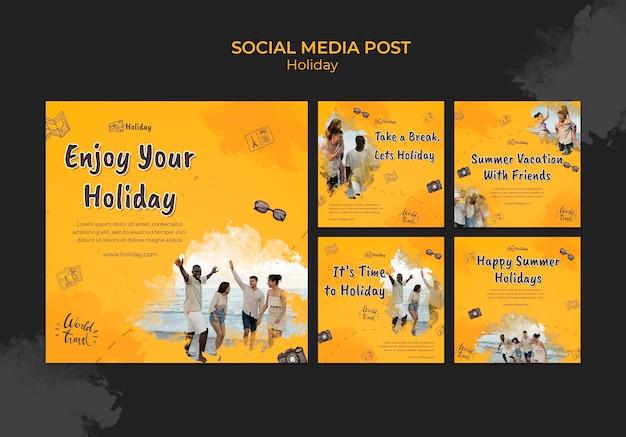 Post di vacanza sui social media