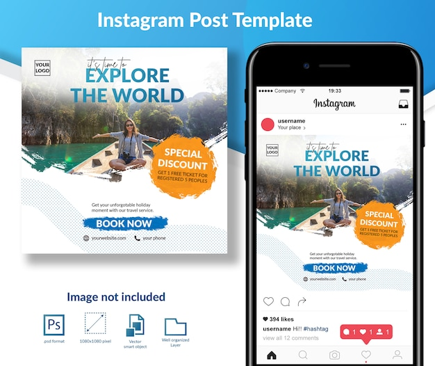 Holiday travel social media post template